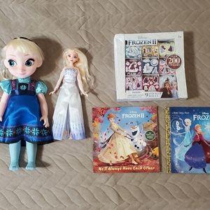 Disney Frozen Elsa Doll & Book 5 pcs Bundle